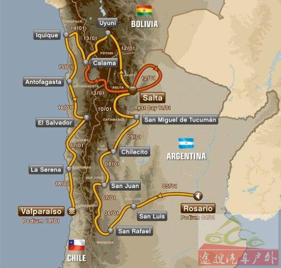 2014年达喀尔拉力赛路线图