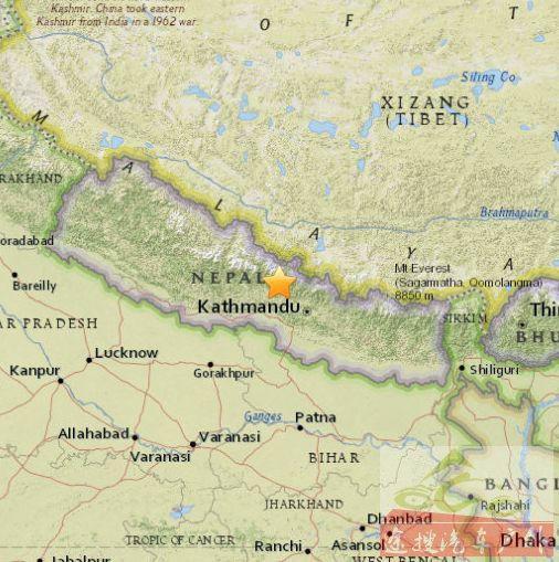 尼泊尔发生7.7级左右地震 西藏多地震感明显