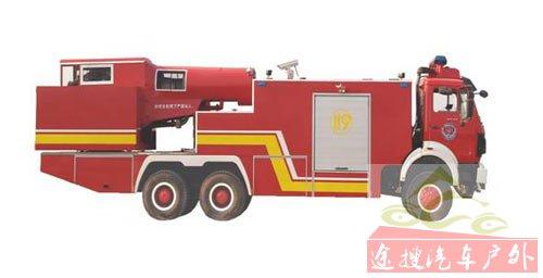 图12以奔驰底盘为载体的涡喷消防车